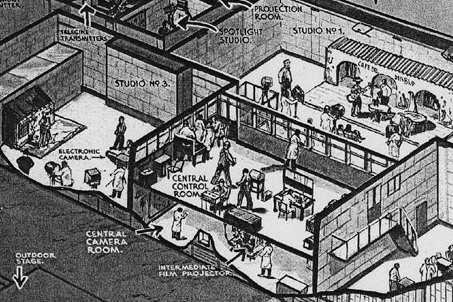 An artist's sketch depicting the television studios at the Crystal Palace.