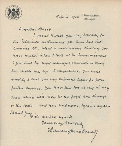the letter to Baird from 10 Downing Street